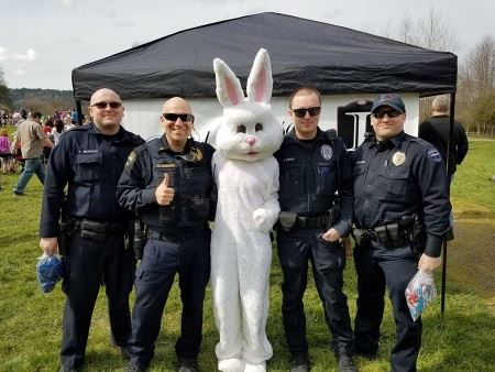 Easter Bunny with Officers